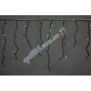 Гирлянда светодиодная Бахрома (сосулька), черный провод, 120 led, цветная