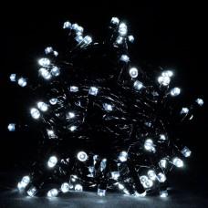 Гирлянда белая, 100 LED 5 мм, черный провод