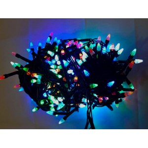 Гирлянда Ёлка цветная, 100 LED, черный провод