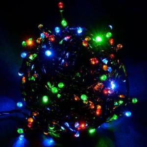Гирлянда Лиза цветная, 100 LED 5 мм, черный провод