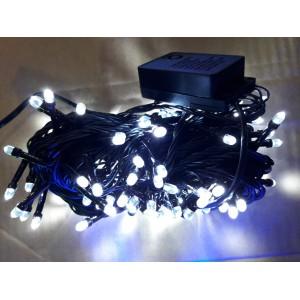 Гирлянда Кристалл белая, 100 LED 5 мм, черный провод