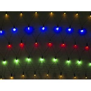 Гирлянда Сетка Ягодка цветная 1.5х1.5 м, 120 LED 8 мм, черный провод