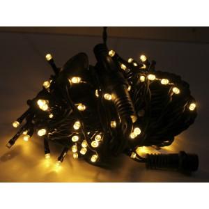 Гирлянда уличная тепло-белая, 100 LED 5 мм, 10 метров, черный провод