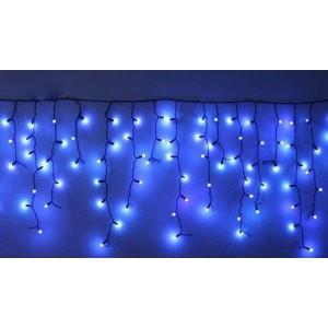 Гирлянда уличная Бахрома синяя, 100 LED 5 мм, 3 метра, черный провод