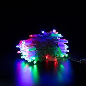 Гирлянда уличная цветная, 100 LED 8 мм, 10 метров, белый провод