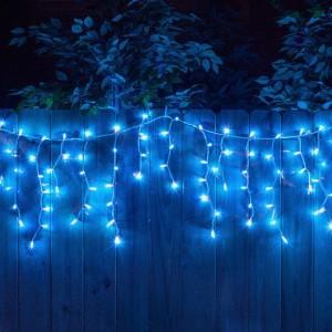 Гирлянда уличная Бахрома синяя, 100 LED 8 мм, 3 метра, белый провод