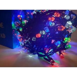 Гирлянда Кристалл цветная, 100 LED 8 мм, черный провод