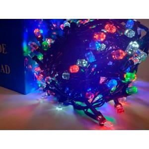 Гирлянда Кристалл цветная, 200 LED 8 мм, черный провод