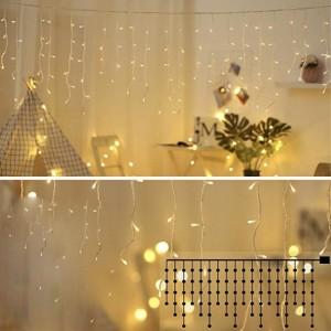 Гирлянда Бахрома тепло-белая, 120 LED, прозрачный провод