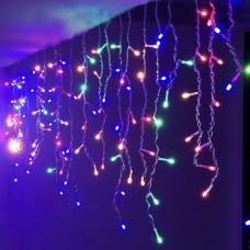 Гирлянда Бахрома цветная, 120 LED, прозрачный провод