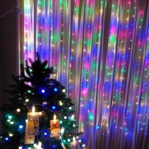 Гирлянда Капля-Штора 3х1.5 м, 300 mini LED, цветная
