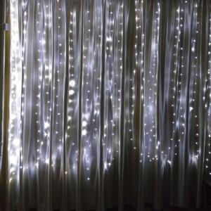 Гирлянда Капля-Штора 3х1.5 м, 300 mini LED, белая