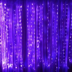Гирлянда Капля-Штора 3х1.5 м, 300 mini LED, фиолетовая