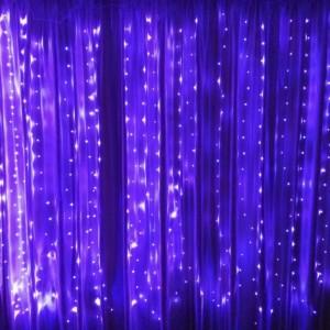 Гирлянда Капля-Штора 3х2 м, 400 mini LED, фиолетовая