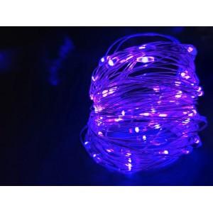 Гирлянда Капля на батарейках, 100 LED, 10 метра, фиолетовая