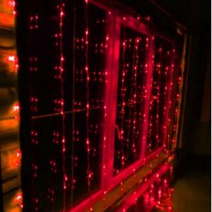 Гирлянда Штора красная 2х2 м, 240 LED 5 мм